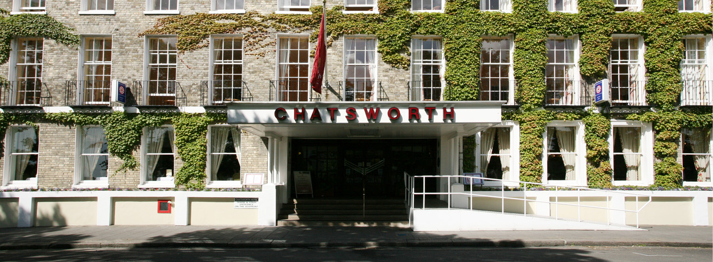 The entrance to the Chatsworth Hotel, Worthing, Sussex